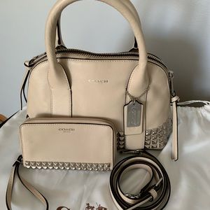Coach small tote studded  w/matching wristlet
